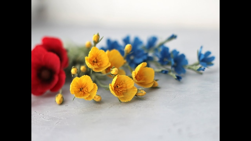 Мастер класс. Полевой лютик из гофрированной бумаги. Hand made paper flowers