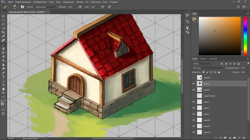 Draw Isometric House for Games! *NEW* (Speedpainting)