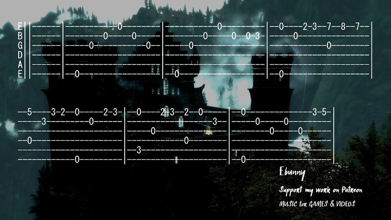 Celtic Medieval Music Old Castle Full Acoustic Guitar Tab by Ebunny Fingerstyle How to Play