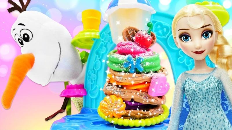 Karlar Ülkesi Elsa ve Olaf dondurmacı oluyorlar! Play Doh dondurma dükkanı oyuncak seti!
