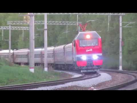 Электровоз ЭП2К-232 с поездом№140М Брянск-Санкт Петербург перегон Латышская-Нара 7.05.2018