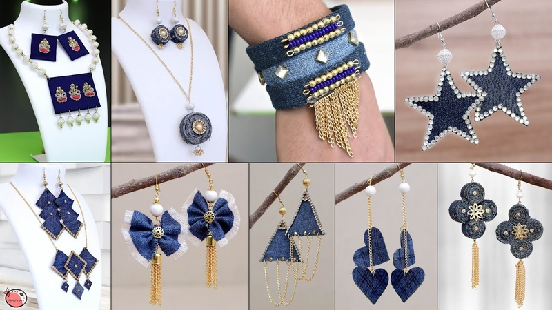 25 Old Jeans Jewelry Making at Home Old Clothe Reuse Craft Ideas