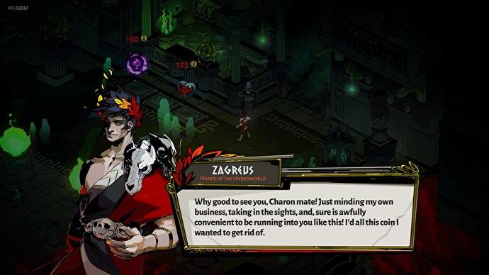 Самоуверенного Загрея озвучивает Даррен Корб — автор замечательных саундтреков к играм Supergiant Games