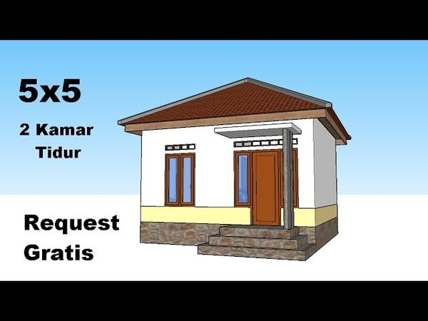 Desain Rumah Minimalis 5x5 Meter - 2 Kamar Tidur