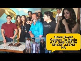 Saiee Sweet Gesture To Media 😍😍😍 Saiee Manjrekar GRAND BIRTHDAY PARTY With Salman | Full Event
