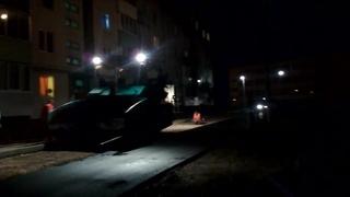 . Рославль.На ночь глядя авральный ремонт дороги к школе №10
