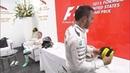 Nico Rosberg throwing the P2 cap back at Lewis Hamilton USGP 2015
