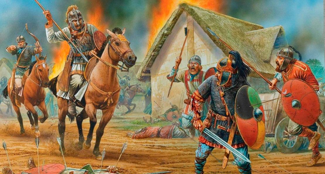 Нападение гуннов на римское поселение