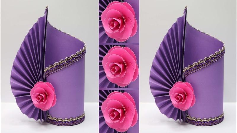 Vas Bunga Cantik dari KERTAS ! Mudah banget ! Paper flower vase diy ideas