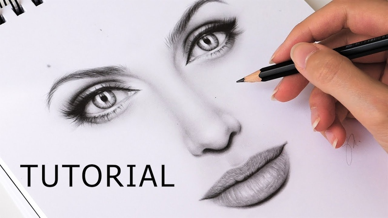 How to Draw Eyes, Nose and Lips (Mouth) - EASY TUTORIAL Step by Step
