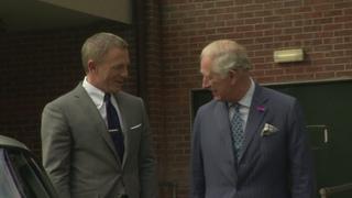 The name's  of Wales meets Daniel Craig on James Bond set