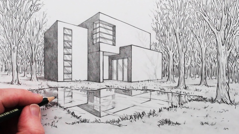 How to Draw a House in 2-Point Perspective with Reflection in Landscape