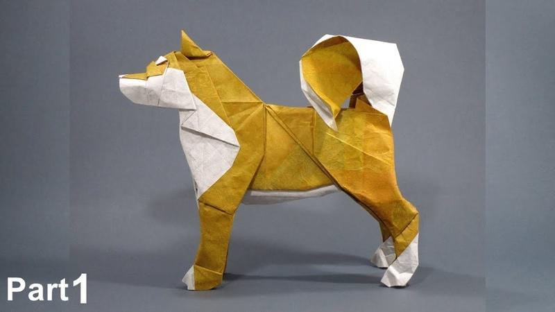 Origami Dog Akita Inu tutorial Satoshi Kamiya part 1 折り紙 イヌ Hachi Hund perro Year of the Dog 2018