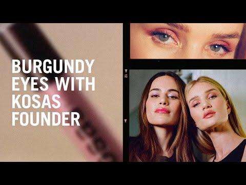 Burgundy eye tutorial with Kosas founder Sheena Yaitanes and Rosie Huntington Whiteley