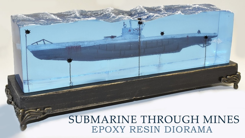 SUBMARINE PASSING THROUGH MINES DIORAMA Epoxy Resin Art