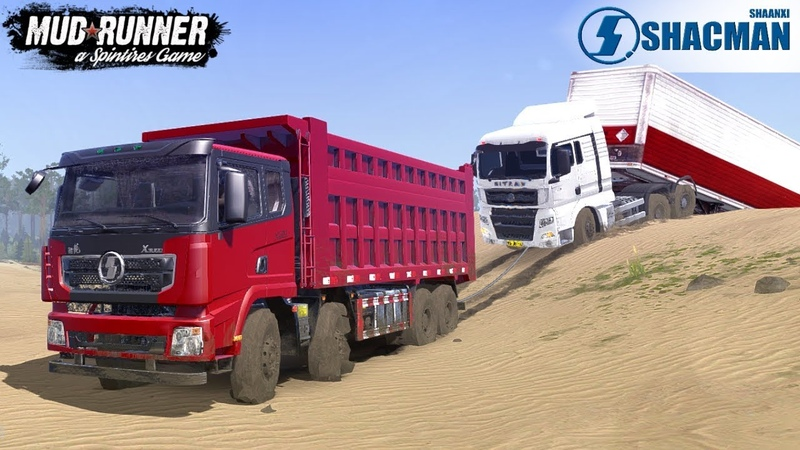 Spintires: MudRunner - SHAANXI AUTO DELONG X3000 Pulls Out a Truck Stuck In The Sand