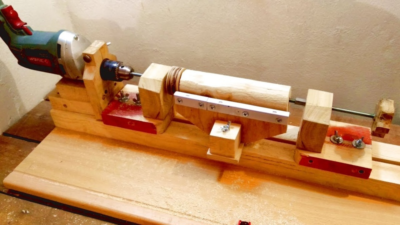 3 in 1 Homemade Lathe Machine Part 1 Drill Powered Wooden Lathe