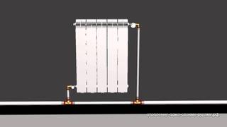 3D Схема однотрубной системы отопления из металлопластика