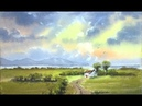 HOW TO PAINT WATERCOLORS,A CLOUDY SKY,BACKGROUND HILLS,AND GREEN FIELDS ...HOLIDAY COTTAGE