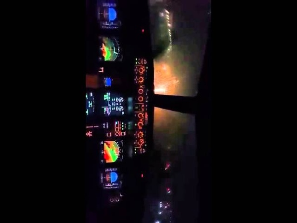 Cockpit View Airbus A319 Night Landing In Saudi Arabia Pilot's View