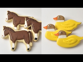 HORSE and DUCK ANIMAL FARM COOKIES by HANIELA'S