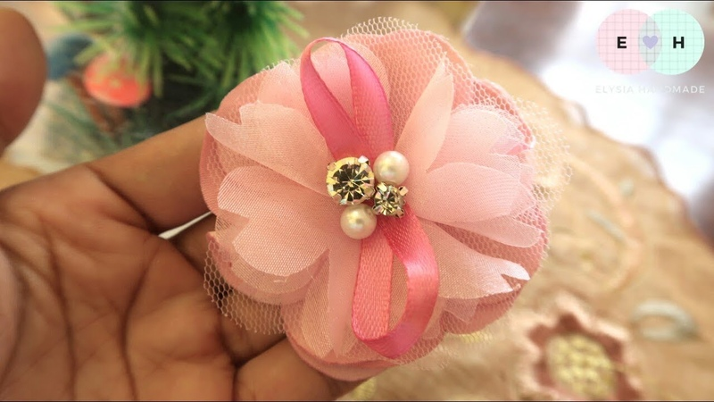 Amazing Satin Organza Tulle Fabric Flowers - Hand Embroidery Works - Ribbon Tricks Easy Making 66