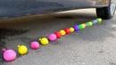 LINE OF BALOONS VS CAR WHEEL | ASMR Crushing test Experiment