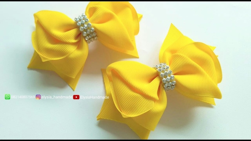 Laços De Fita Yellow Grosgrain Ribbon Bow Tutorial 🎀 DIY by Elysia Handmade