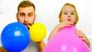 Девочка Ника и Папа учат цвета с воздушными шариками под детскую песенку. Детское видео про цвета