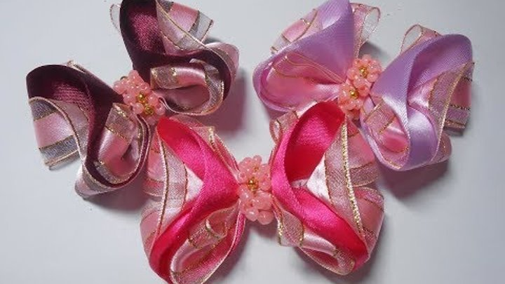 Бант из атласных лент МК DIY Satin ribbon bow de fita de cetim PAP