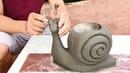 DIY - Creative hands - Design bonsai pots from snails - Beautiful cement craft ideas