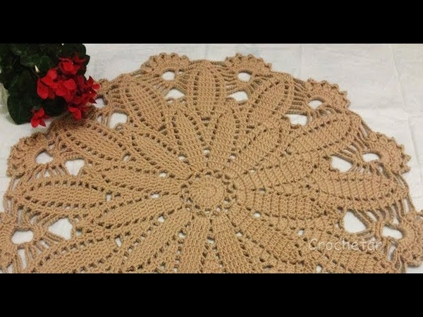 Toalha Clássica Flor de Canela crochê - Professora Maria Rita