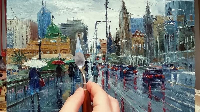 Walking to Flinders Street Station - In the Rain - Palette Knife | Brush Oil Painting Dusan