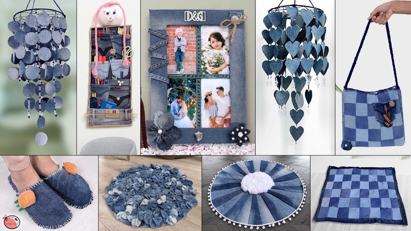 21 Old Jeans Reuse Craft Idea Old Clothes Room Decor || Wall Hanging, Doormat, Organizer