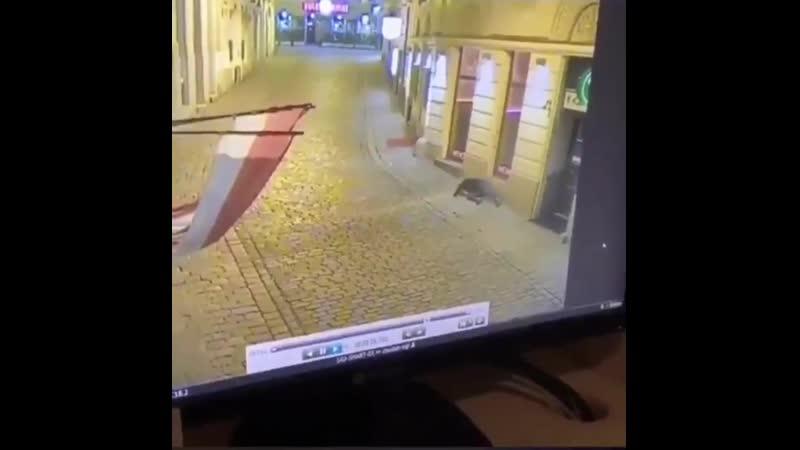 CCTV aus einem anderen Blickwinkel zeigt einen der Terroristen zu Beginn ihres heutigen Massakers in Wien