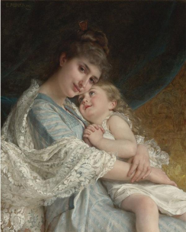 Обращаю ваше внимание на эту замечательную картину… Мать смотрит на нас спокойно и удовлетворённо — можно даже сказать, самодовольно. И у неё есть повод для этих чувств: её ребёнок смотрит на неё, как на божество, и чтобы у нас не было сомнений, молитвенно складывает ручки. В глазах девочки обожание. Все счастливы.