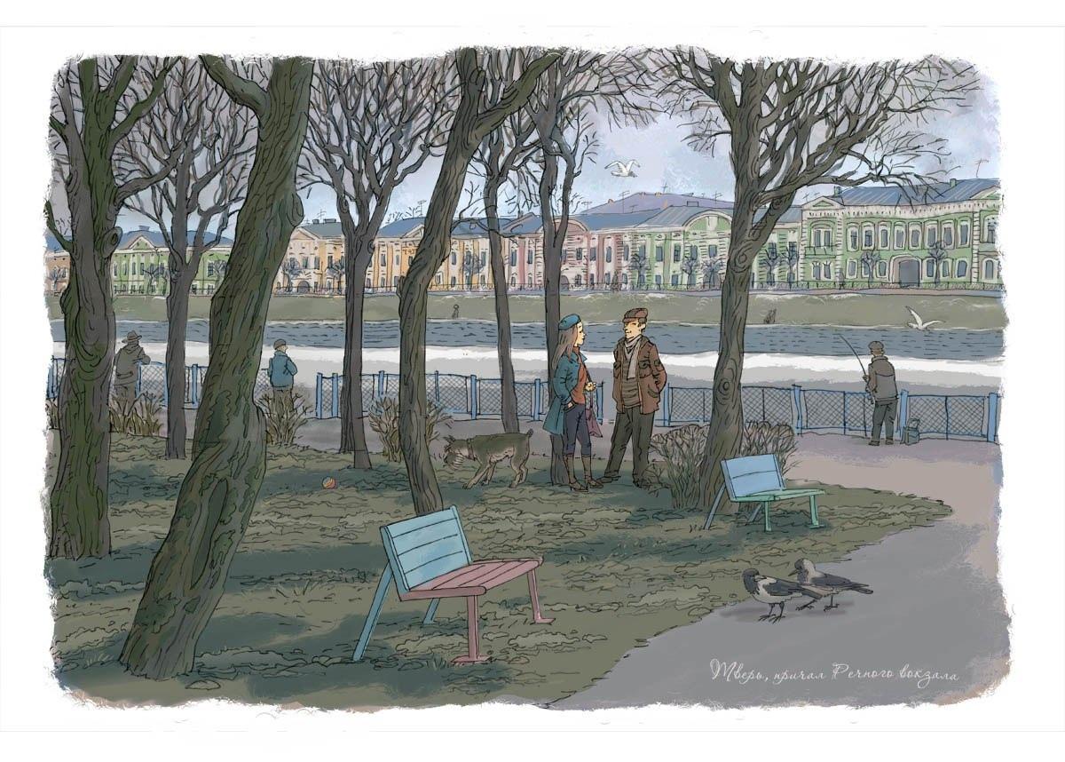 Тверской художник рисует открытки с видами Твери и области