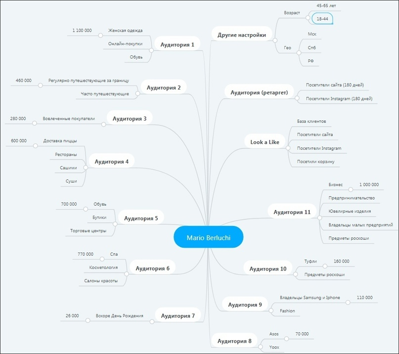 Майнд-карта аудиторий (сделана в MindMeister)