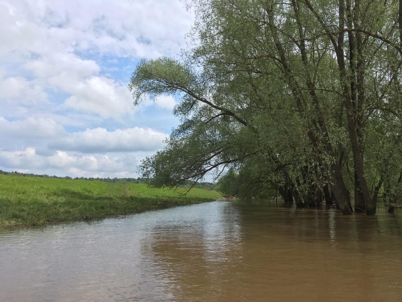проход над берегом, затопленным водой