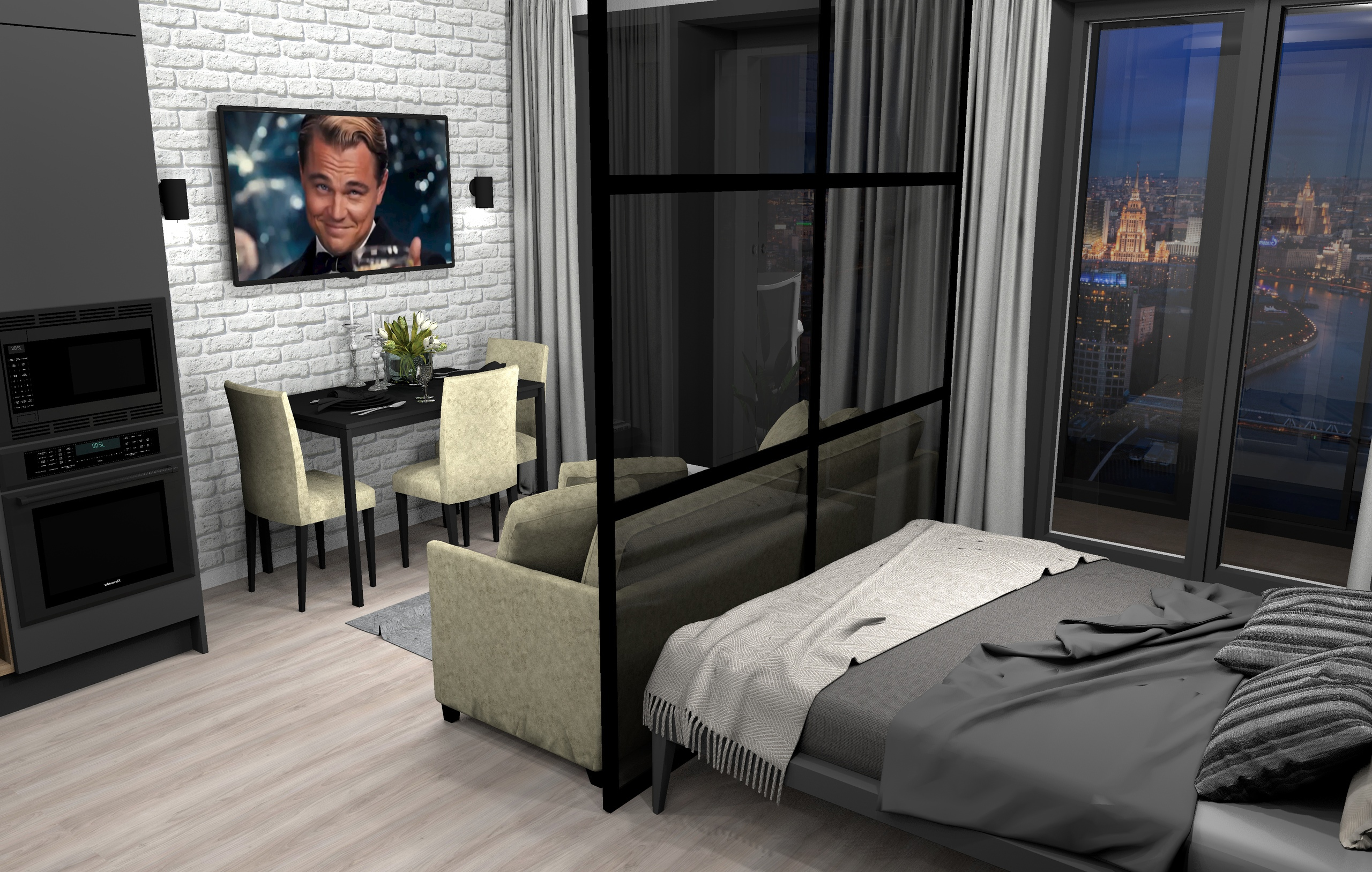 ЖК HEADLINER Москва , проект апартаментов 34 кв/м , автор проекта Чупов А.