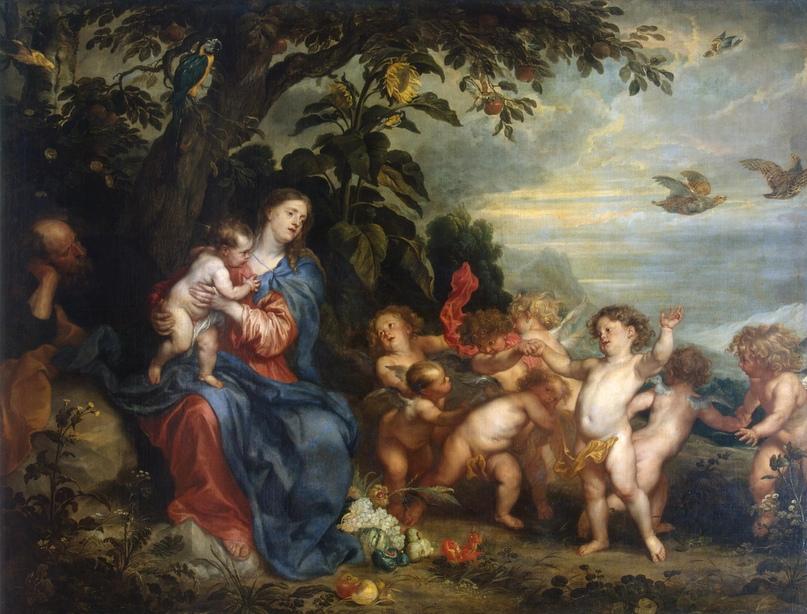 Антонис Ван Дейк, Пауль де Вос. Отдых на пути в Египет (Мадонна с куропатками). Не позднее 1630-1632 гг.