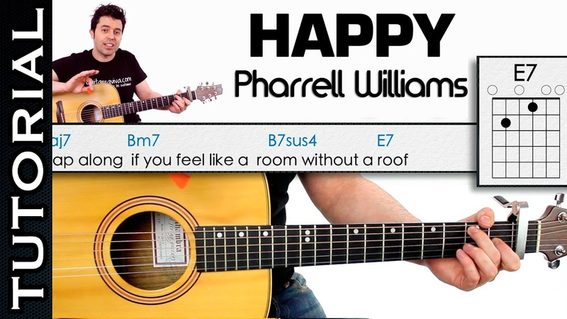 Como tocar HAPPY de Pharrell Williams en guitarra acordes cover tutorial facil