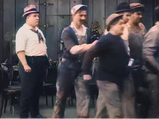Charlie Chaplin - Behind the Screen (1916) - color (Laurel  Hardy)