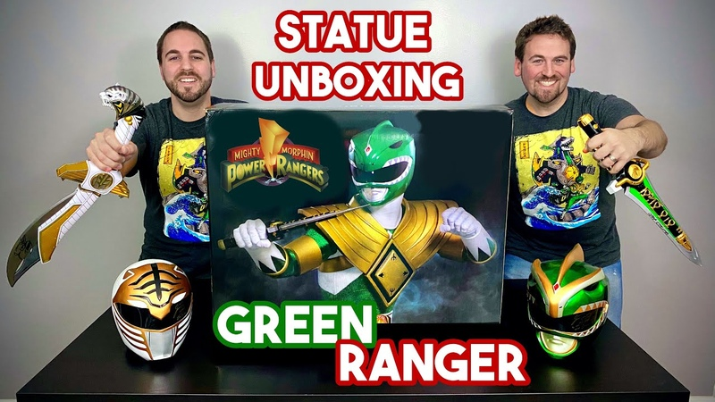 Power Rangers 1 4 Scale GREEN Ranger : Dragonzord Exclusive by PCS Collectibles Statue Unboxing