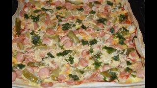 Сырная пицца на лаваше с яйцом огурцами и зеленью