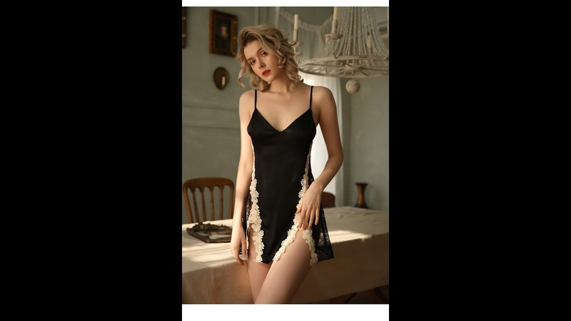 Young Girl Lace Sleepwear Woman Ice Silk Suspender Sleeping Dress