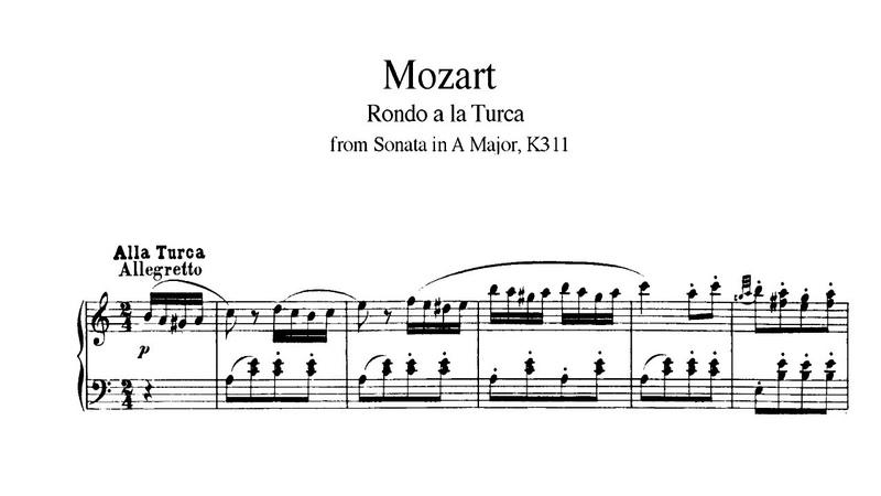 В Моцарт Турецкий марш Alla Turca из сонаты no 11 ноты для фортепиано классическая музыка