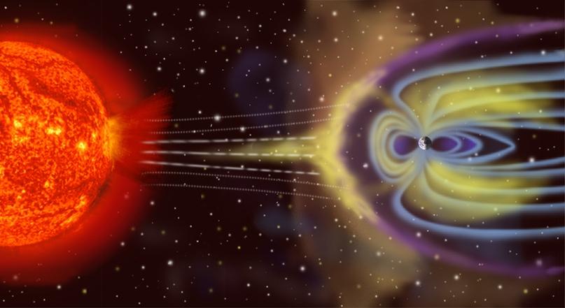 Схема взаимодействия солнечного ветра с магнитосферой Земли (c) NASA