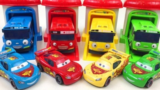 Disney Cars Lightning McQueen & Tayo the Little Bus Learn Colors Toys Vehicles