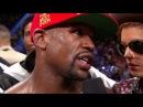 Justin Bieber during Floyd Mayweather's winner interview vs Maidana in Las Vegas May 3 2014